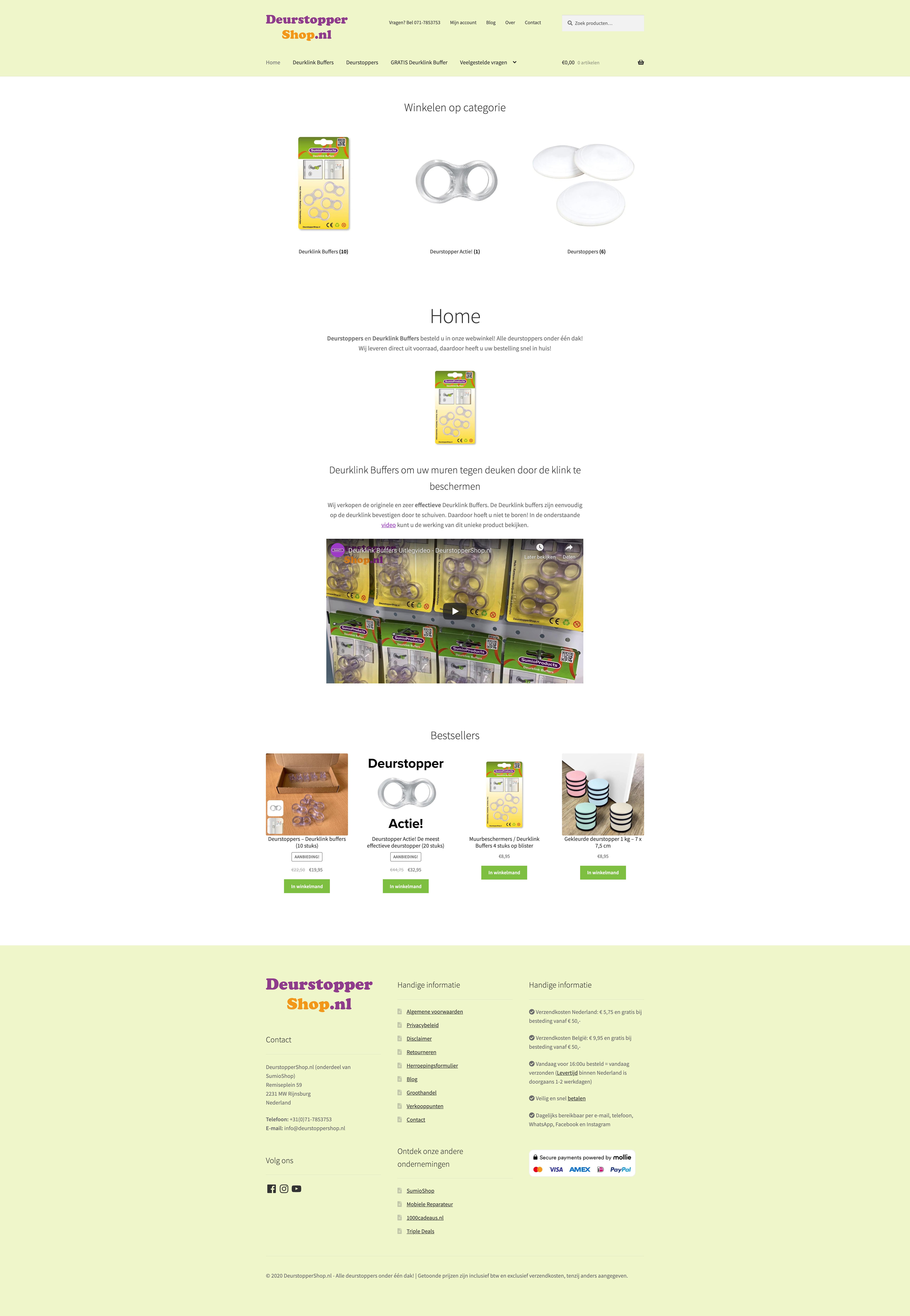 Schermafbeelding van de website van DeurstopperShop