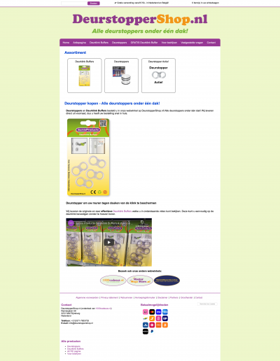 Schermafbeelding van de oude website van DeurstopperShop