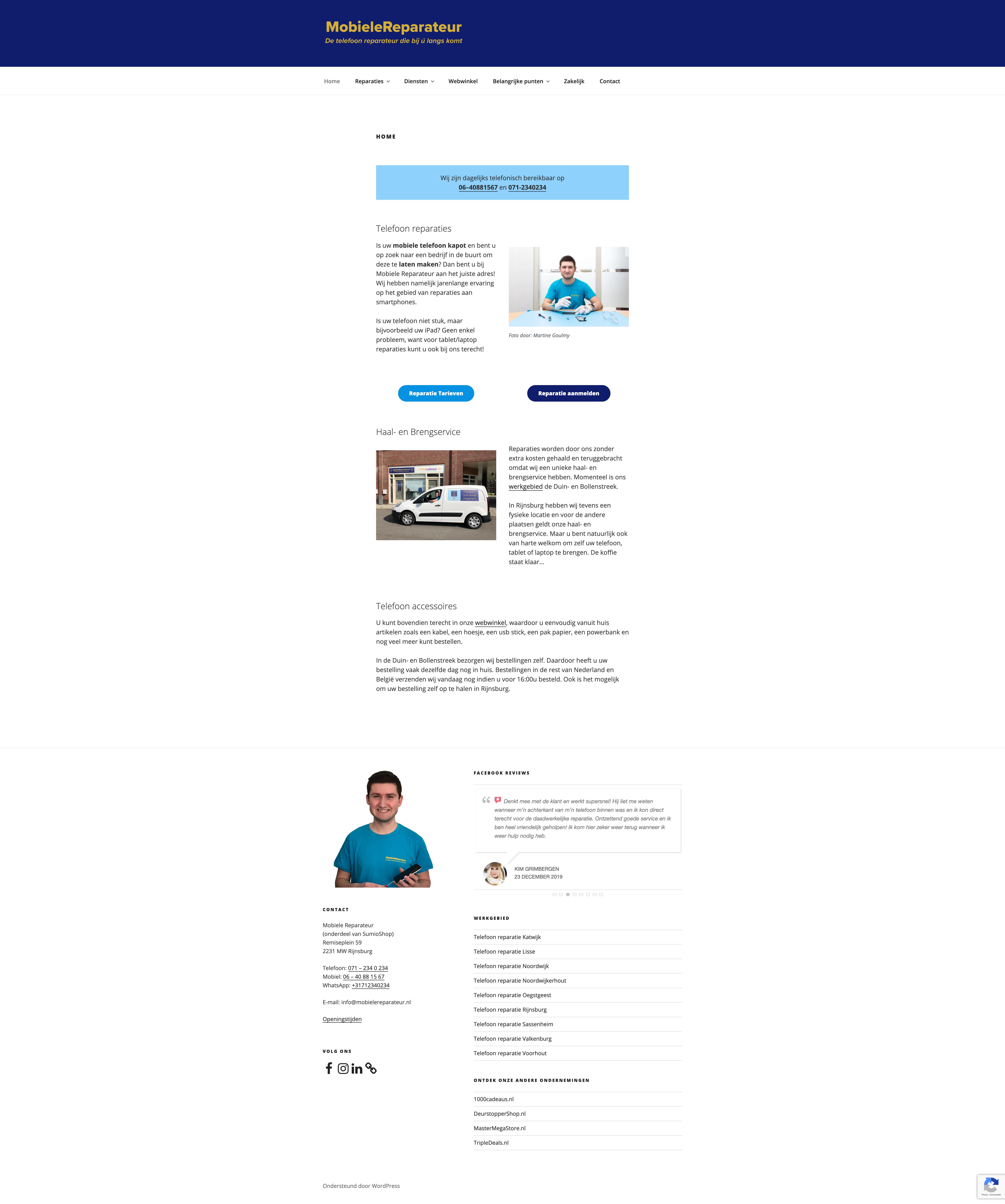 Schermafbeelding van de website van Mobiele Reparateur