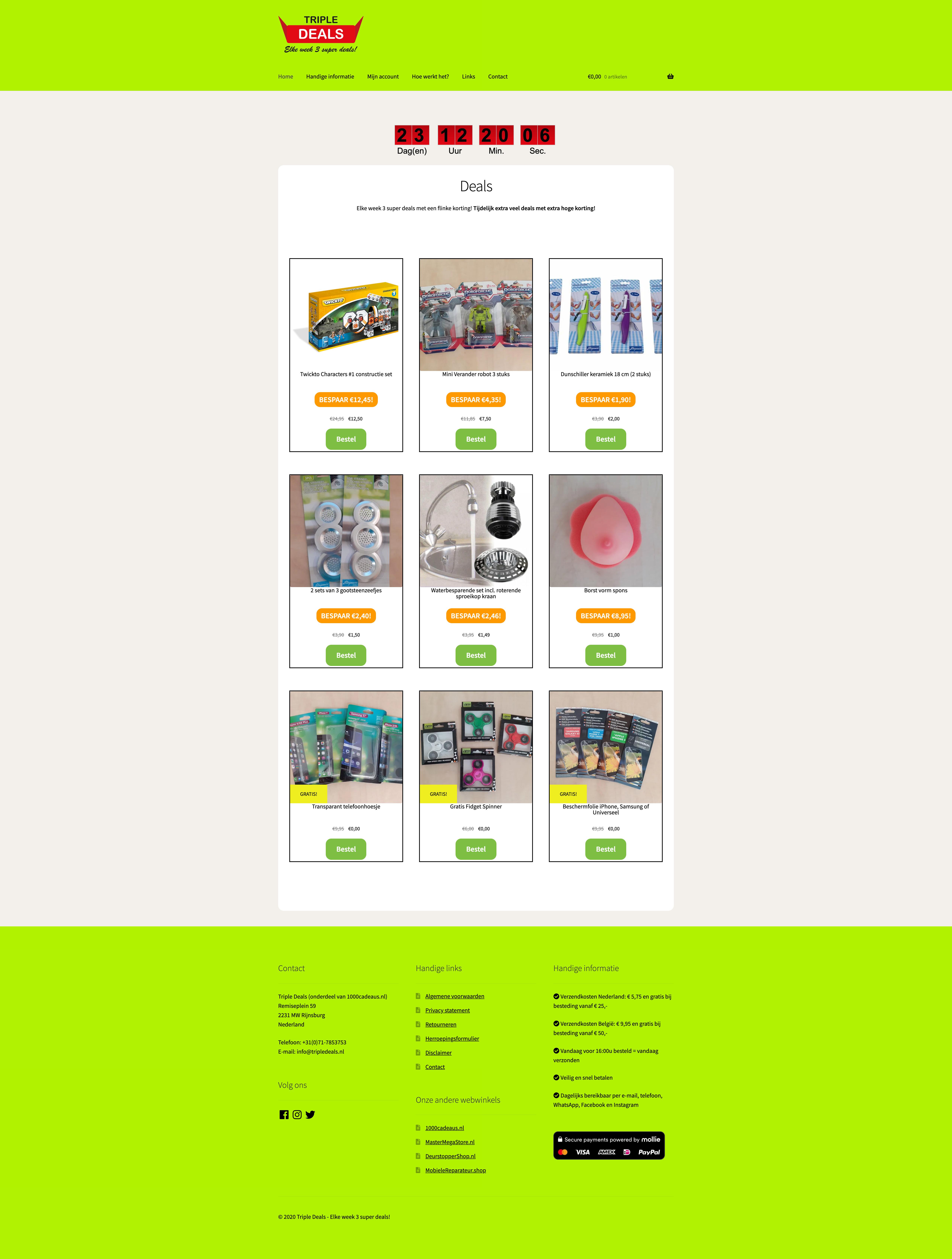Schermafbeelding van de website van Triple Deals