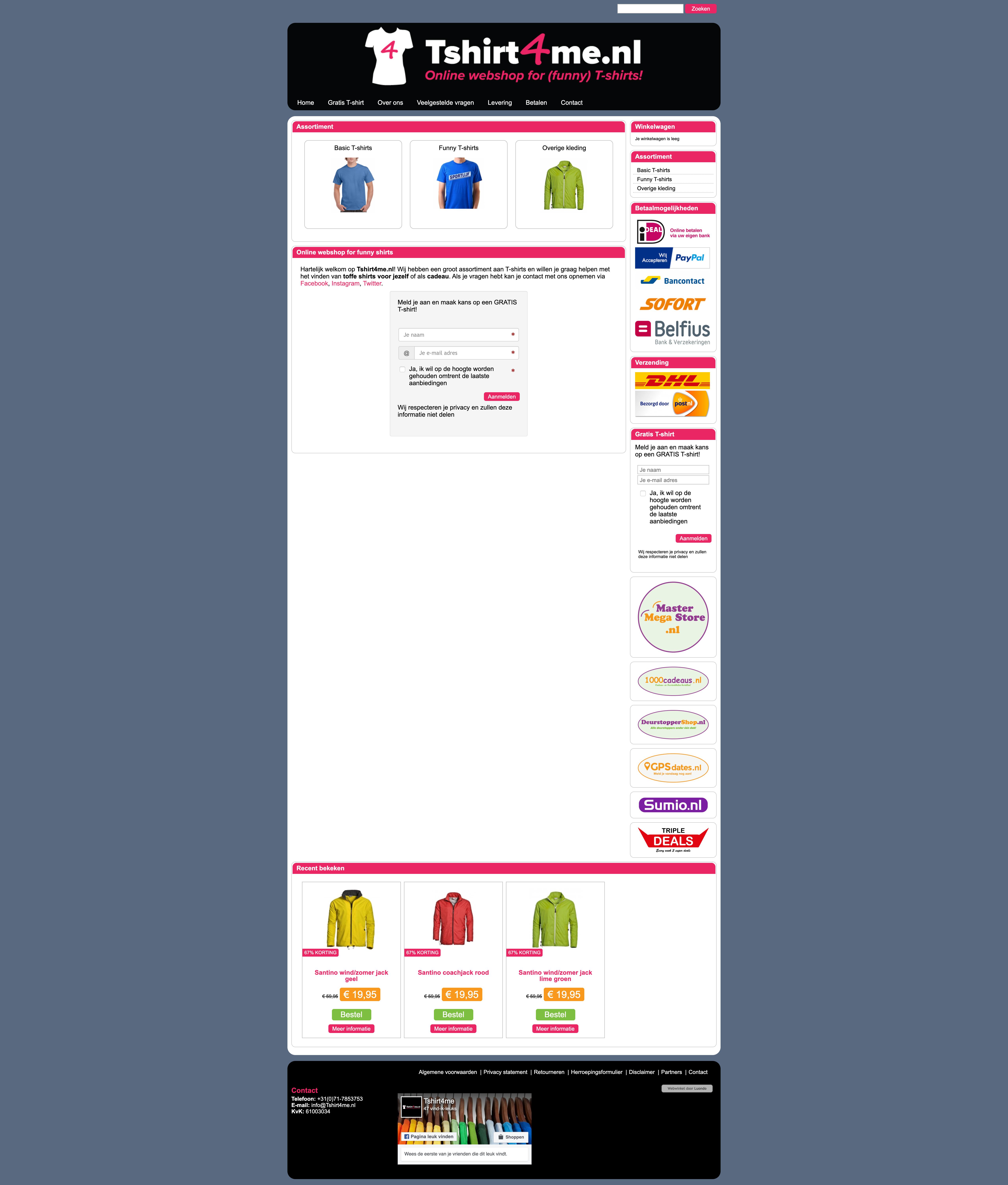 Schermafbeelding van de website van Tshirt4me