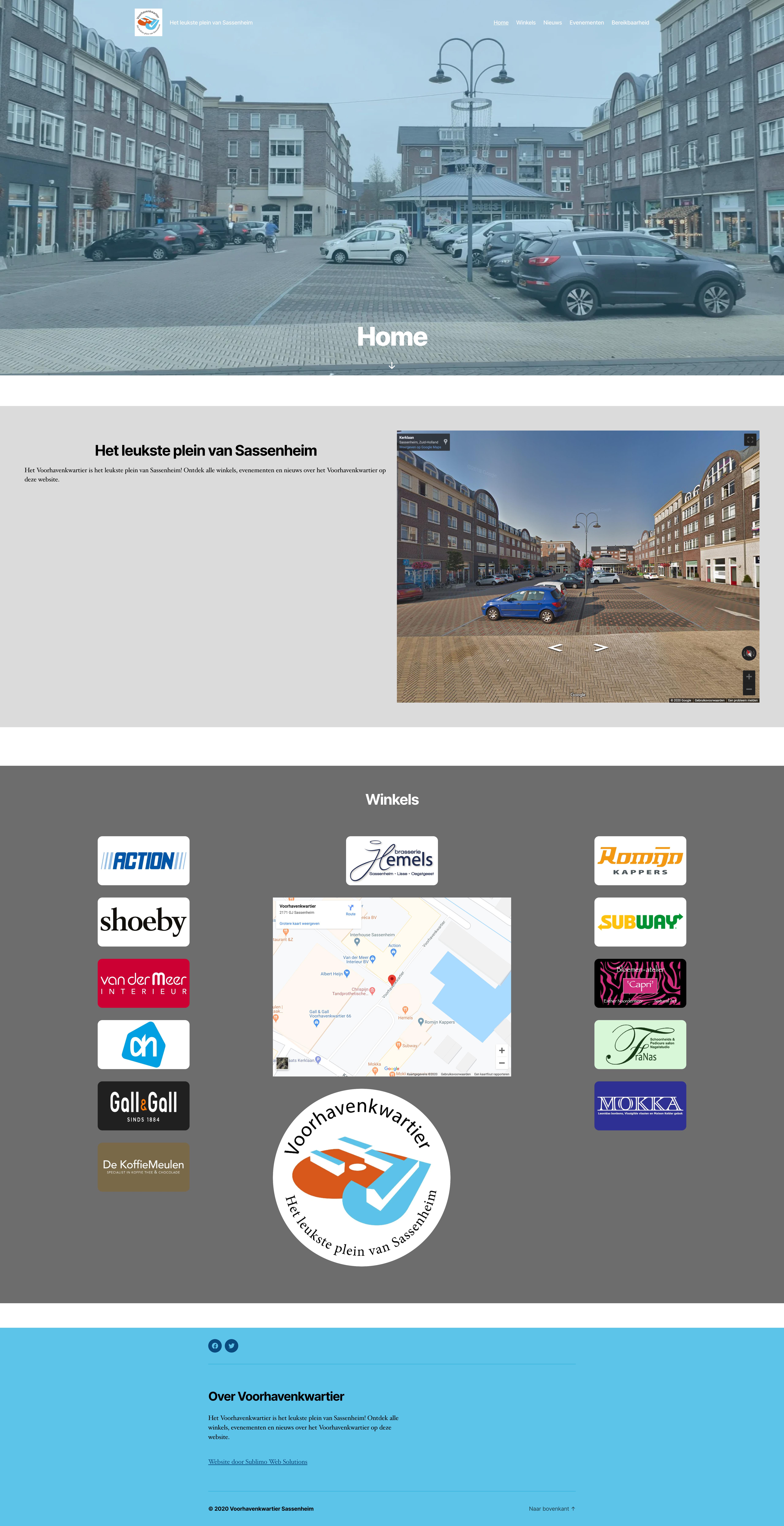 Schermafbeelding van de website van Voorhavenkwartier